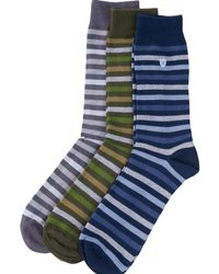 Barbour Pack 3 calcetines a rayas - Azul