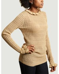 By Malene Birger Goldener Lurex Alivia Ruffle Sweater - Mettallic