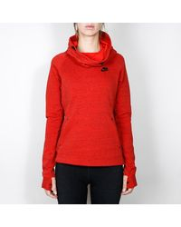 Nike - Red Tech Fleece Hoodie - Lyst