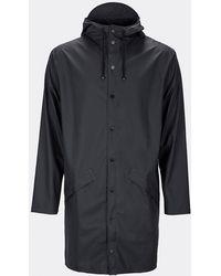Rains - Schwarze lange Jacke - Lyst