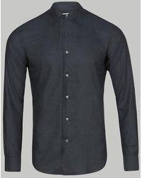 Brioni Camisa entallada de manga larga azul marino