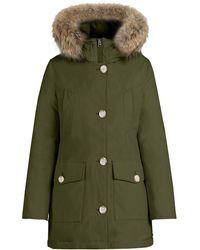 Woolrich Dark Green High Collar Womens Arctic Parka