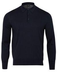Brioni Split Back Polo Grey Midnight Grey - Bleu