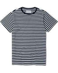 Albam Camiseta blanca con rayas simples en azul marino