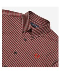 Fred Perry Bordeaux Gingham Shirt - Rot