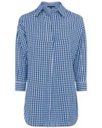 French Connection Camisa Reta Check Pop Over - Azul