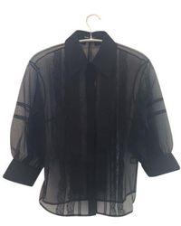 Markus Lupfer Sheer Lace Organza Effie Blouse - Black
