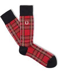 Fred Perry Royal Stewart Tartan Socken - Rot