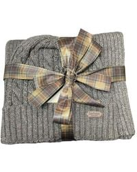 Barbour Cromer Beanie Scarf Gift Set Charcoal Grey