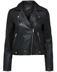 SELECTED Https://www.trouva.com/it/products/selected-femme-katie-black-leather-jacket-1 - Nero