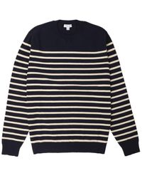 Sunspel Breton Crew Neck Knit Navy Ecru - Blue