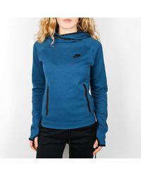 Nike Space Blue Tech Fleece Funnel Sudadera con capucha - Azul