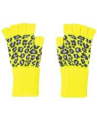 Paul Smith Leopard Fingerless Gloves Neon Yellow