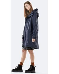Rains Blue Polyester Quilted Parka Jacket