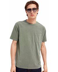 Scotch & Soda T-shirt verde in piqué di cotone biologico
