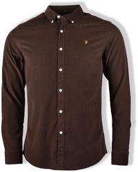 Farah Dark Chocolate Fontella Long-sleeved Cord Shirt - Brown