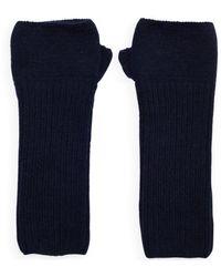 The West Village Loose Rib Navy Wrist Warmers - Blue