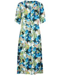 Paul Smith Marble Floral Print Button Front Midi Dress Blue