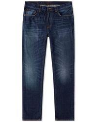 Nudie Jeans Jeans en denim pour homme authentique Dark Sleepy Sixten en coton bio - Bleu