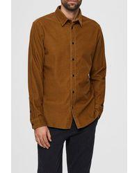 SELECTED Breen Brown Henley Cord Shirt - Mehrfarbig