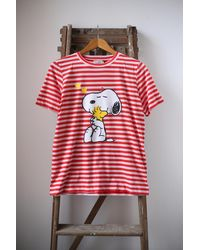 Chinti & Parker Snoopy Love Striped T Shirt - Red