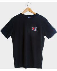 Champion Suede C Logo T-Shirt mit Rundhalsausschnitt - Blau