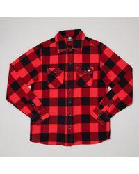 Dickies Camisa cheques franela Sacramento en rojo y negro