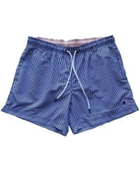 Champion Reverse Weave Classic Swim Short Blue White Striped