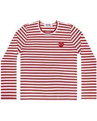 Comme des Garçons T-shirt rayé Play Comme des Garçons (rouge / blanc) P1T164