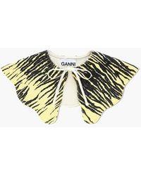 Ganni Denim Imprimé Col Détaché Banane Pâle - Multicolore