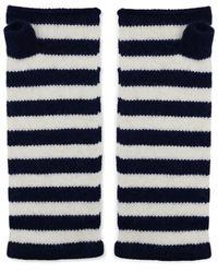 The West Village Navy & White Cashmere Wrist Warmers - Blue