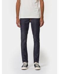 Nudie Jeans Brut Jean Slim En Coton Bio Lean Dean Dry 16 Trempettes - Bleu