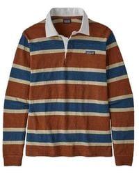 Patagonia Long Sleeved Lightweight Rugby Shirt Sisu Brown Rusi - Blue