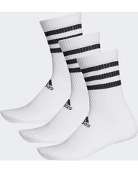 adidas White 3 Stripes Classic Cushioned Socks - Multicolour