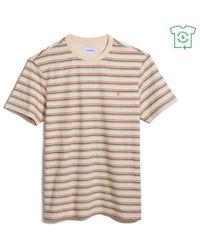 Farah Canyon Stripe Slim Fit Tee Shirt Cream - Natural