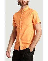 Saturdays NYC Camisa Oxford Peach Esquina - Naranja