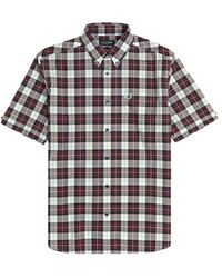Fred Perry Authentic Button Down Short Sleeve Check Shirt Mahogany - Multicolor