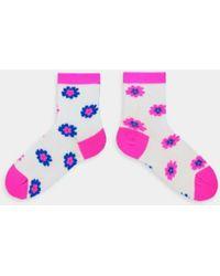Essentiel Antwerp Neon Pink And Blue Floral Vifi Socks