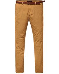 Scotch & Soda Camel Cotton Chino Mott Slim Fit Pant - Brown