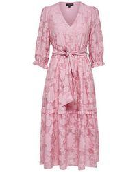 SELECTED Sadie 3 4 Midi Dress - Pink