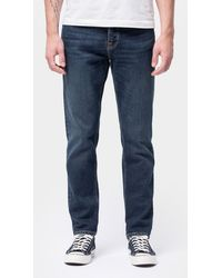 Nudie Jeans Algodón orgánico clásico oscuro estable Eddie II - Azul