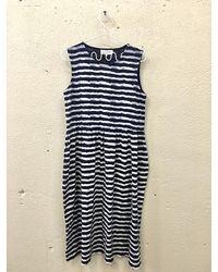 YMC Patterned Relaxed Pouf Dress Indigo Stripes Last Piece - Blue
