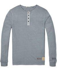 Scotch & Soda - Camiseta de cuello de algodón azul - Lyst