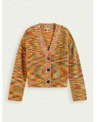 Maison Scotch Combo Wool Blend V Neck Cardigan - Multicolour