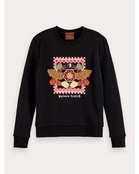 Maison Scotch - Embroidered Cotton-blend Sweatshirt - Lyst