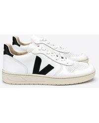 Veja Zapatillas V10 de cuero extra blancas y negras - Multicolor