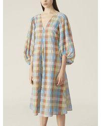 Ganni Seersucker Check Dress Multicolour - Blue