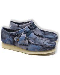 Clarks Wallabee Wildlederschuhe (Blue Camo) - Blau