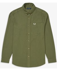 Fred Perry Camicia Overdyed Verde militare