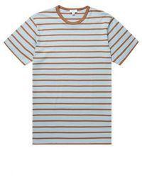 Sunspel Cotton T Shirt Blue Jeans Tobacco